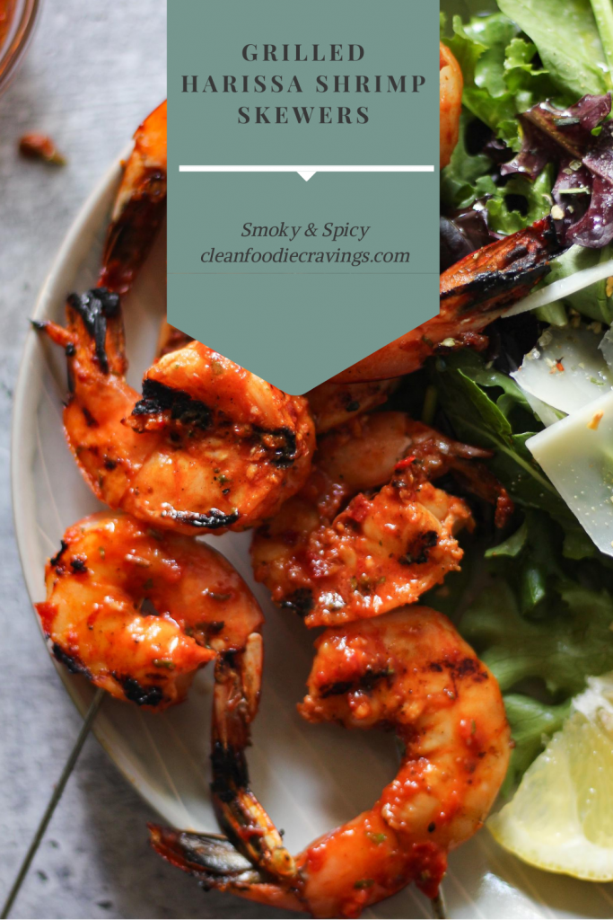 Perfect addition to the backyard dinner party or barbecue. Smoky and spicy flavor pairs well fresh greens or grilled vegetables. #grilledshrimp  #cleanfoodiecravings